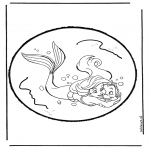 Knutselen Prikkaarten - Prikkaart de kleine zeemeermin 1