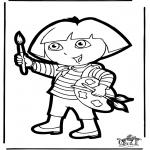 Knutselen prikkaarten - Prikkaart Dora 1