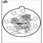 Kerst Kleurplaten - Prikkaart Jozef en Maria