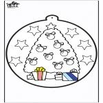 Kerst Kleurplaten - Prikkaart kerstboom 1