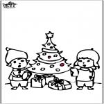 Kerst Kleurplaten - Prikkaart kerstboom 4