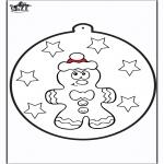 Kerst Kleurplaten - Prikkaart kerstpop 1