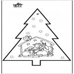 Kerst Kleurplaten - Prikkaart Kerststal 2