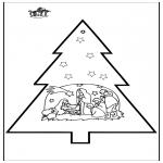Kerst Kleurplaten - Prikkaart kerststal 3