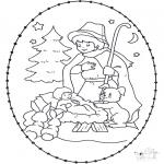 Kerst Kleurplaten - Prikkaart kribbe