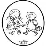 Knutselen Prikkaarten - Prikkaart naar school