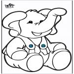 Knutselen Prikkaarten - Prikkaart olifant 2