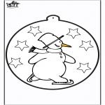 Kleurplaten Winter - Prikkaart Sneeuwpop 1