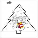 Kerst Kleurplaten - Prikkaart sneeuwpop 2