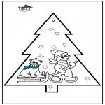 Kerst Kleurplaten - Prikkaart sneeuwpop 3