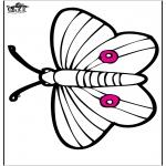 Kleurplaten Dieren - Prikkaart vlinder