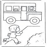 Allerlei Kleurplaten - Rennen naar schoolbus