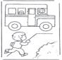 Rennen naar schoolbus