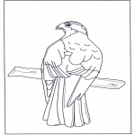 Kleurplaten Dieren - Roofvogel op tak