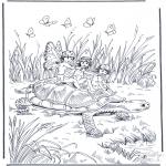 Kleurplaten Dieren - Schildpad met elfjes