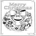 Kinderkleurplaten - Sesamstraat vrolijk kerstfeest