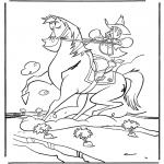 Stripfiguren Kleurplaten - Sherrif te paard