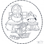 Knutselen Borduurkaarten - Sinterklaas borduurkaart 1