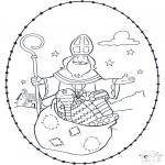 Knutselen Borduurkaarten - Sinterklaas borduurkaart 4
