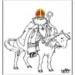 Knutselen Prikkaarten - Sinterklaas kleurplaat 3