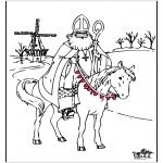 Knutselen Prikkaarten - Sinterklaas kleurplaat 4
