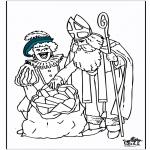 Knutselen Prikkaarten - Sinterklaas kleurplaat 5