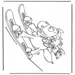 Stripfiguren Kleurplaten - Ski Paard Diddl