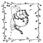 Kleurplaten Dieren - Slapende kat