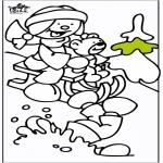 Kleurplaten Winter - Slee 2