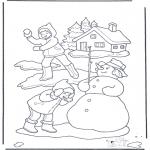 Kleurplaten Winter - Sneeuwballen gevecht