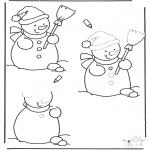 Kleurplaten Winter - Sneeuwpop aftekenen