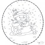 Knutselen Borduurkaarten - Sneeuwpop borduurkaart