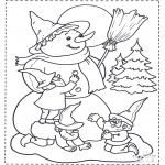 Kleurplaten Winter - Sneeuwpop en kabouter
