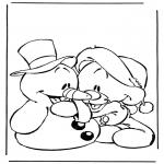 Stripfiguren Kleurplaten - Sneeuwpop met beertje