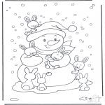 Kleurplaten Winter - Sneeuwpop met konijntjes