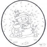 Knutselen Prikkaarten - Sneeuwpop prikkaart