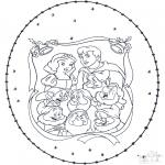 Knutselen Borduurkaarten - Sneeuwwittje Borduurkaart