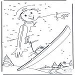 Kleurplaten Winter - Snowboarden