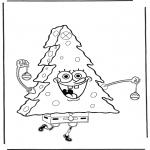 Kinderkleurplaten - Spongebob als kerstboom
