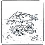 Kinderkleurplaten - Spongebob en Sandy