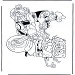 Kinderkleurplaten - Spongebob op de motor