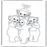 Kinderkleurplaten - Teletubbies knuffelen