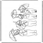 Kinderkleurplaten - Teletubbies met paraplu