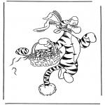 Stripfiguren Kleurplaten - Tijgetje als paashaas