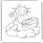 Kinderkleurplaten - Troetelbeertje zon