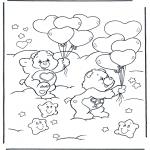 Kinderkleurplaten - Troetelbeertjes met ballonnen