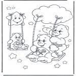 Kinderkleurplaten - Troetelbeertjes schommelen