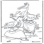 Kleurplaten dieren - Twee pelikanen
