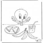 Stripfiguren Kleurplaten - Tweety eet