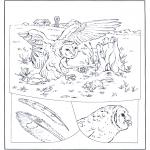 Kleurplaten Dieren - Uil op jacht